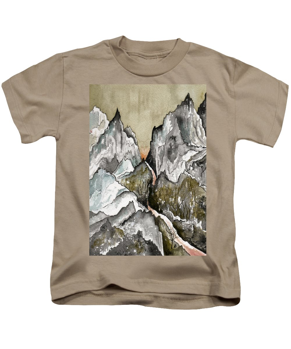 Landscape Kids T-Shirt featuring the painting Dwimorberg   The Haunted Mountain by Brenda Owen
