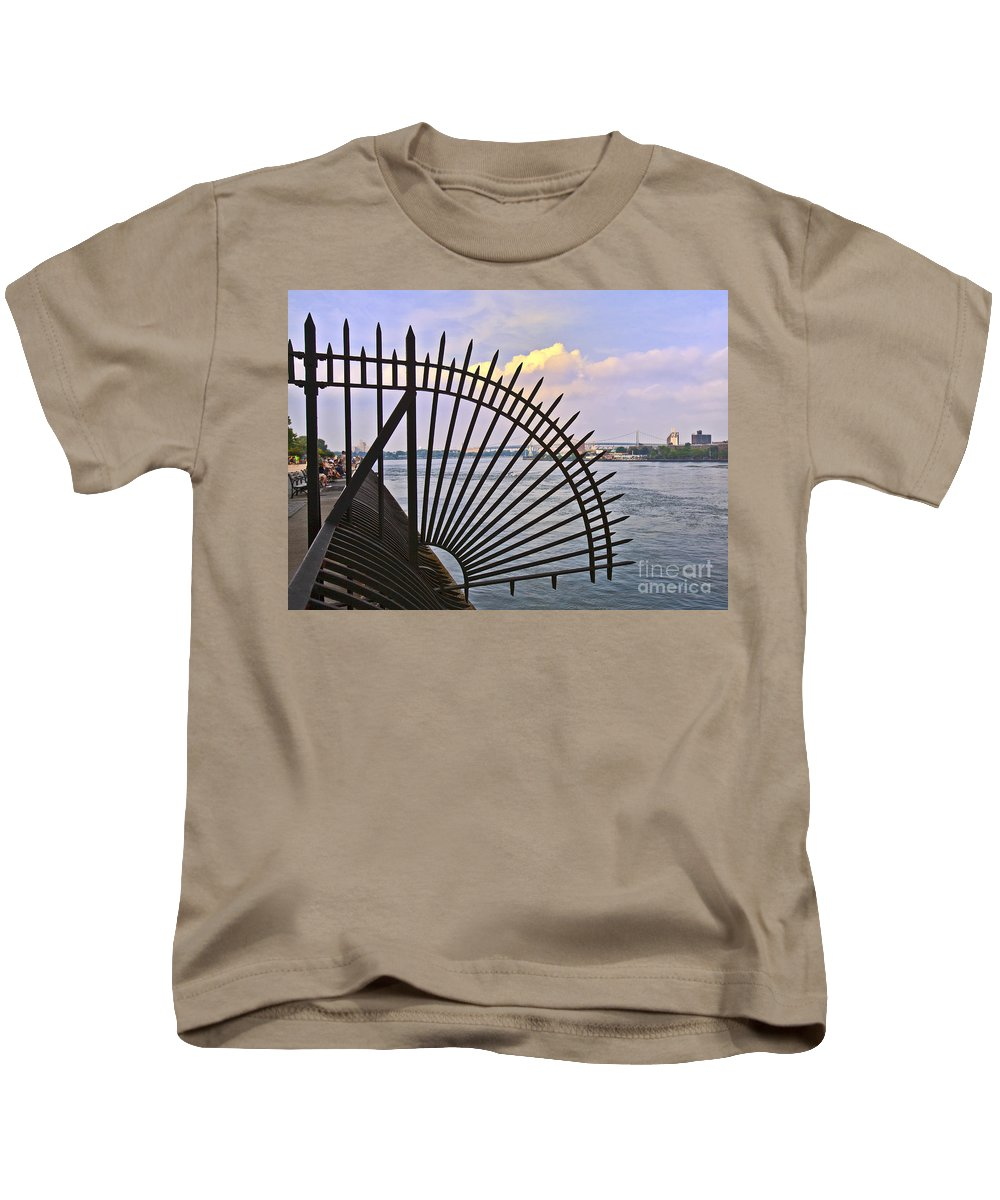 East River Kids T-Shirt featuring the photograph East River View Through The Spokes by Madeline Ellis