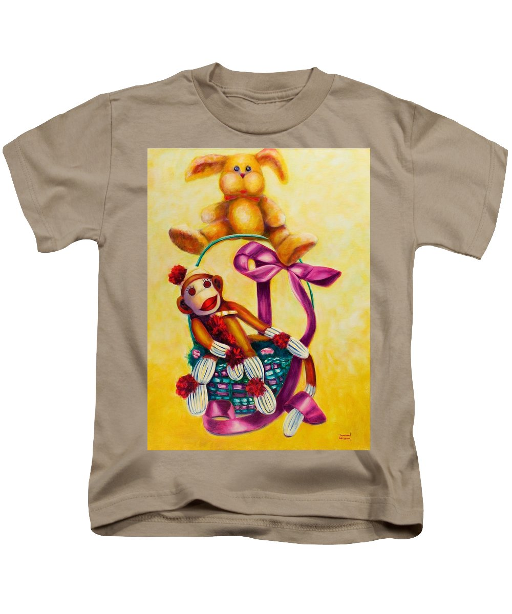 Easter Kids T-Shirt featuring the painting Easter Made Of Sockies by Shannon Grissom