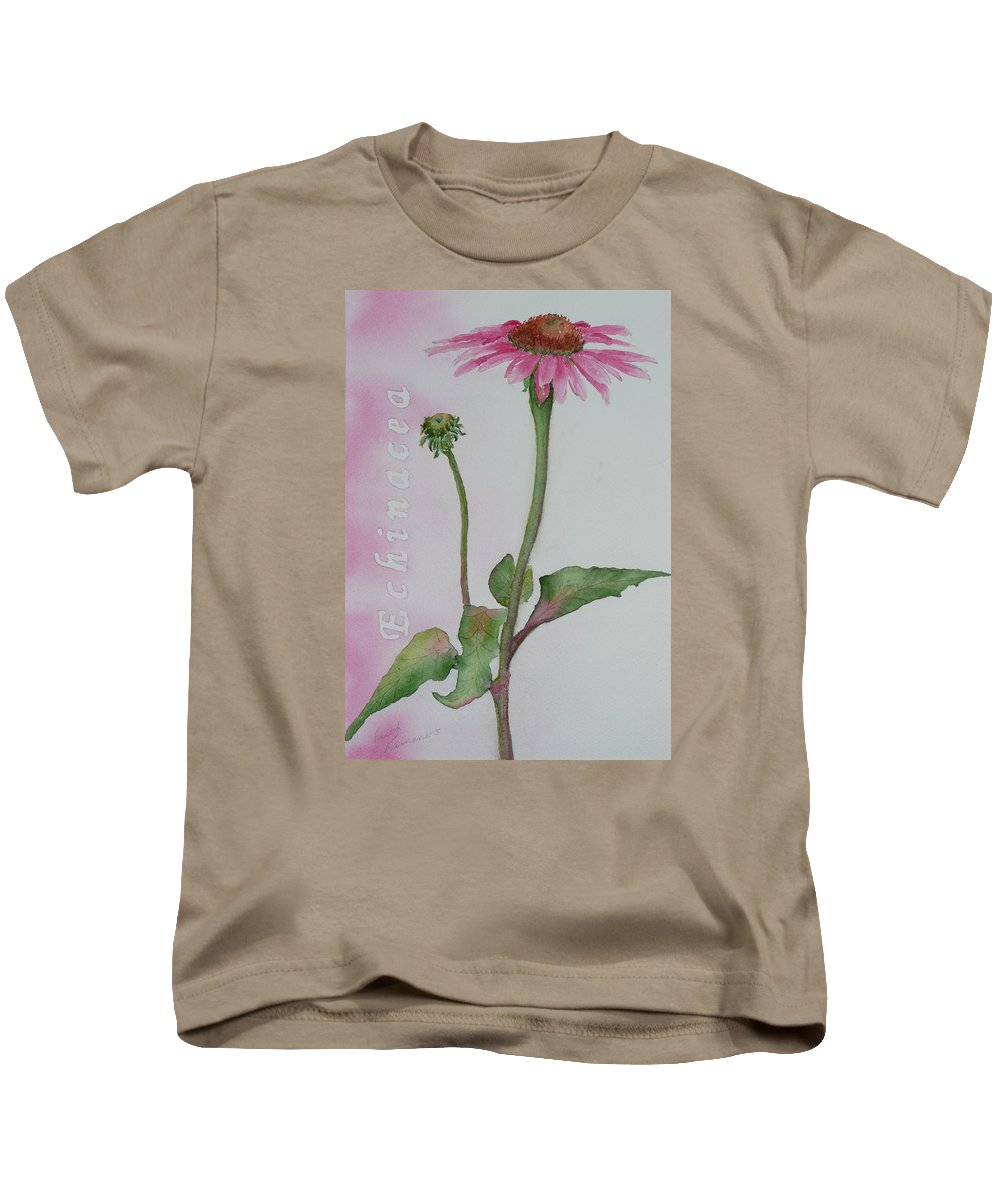 Flower Kids T-Shirt featuring the painting Echinacea by Ruth Kamenev