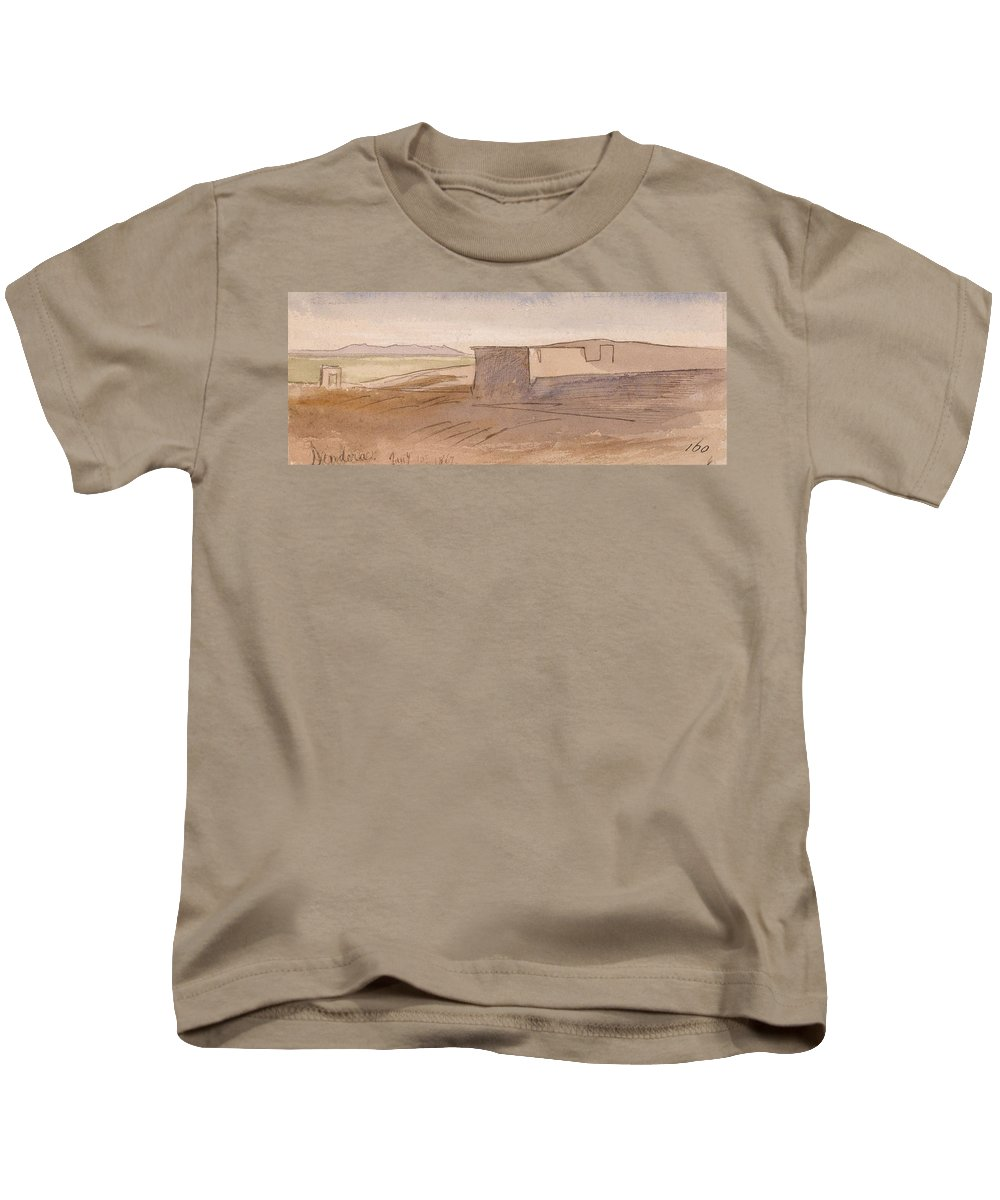 Art Kids T-Shirt featuring the painting Edward Lear - Dendera by Edward Lear
