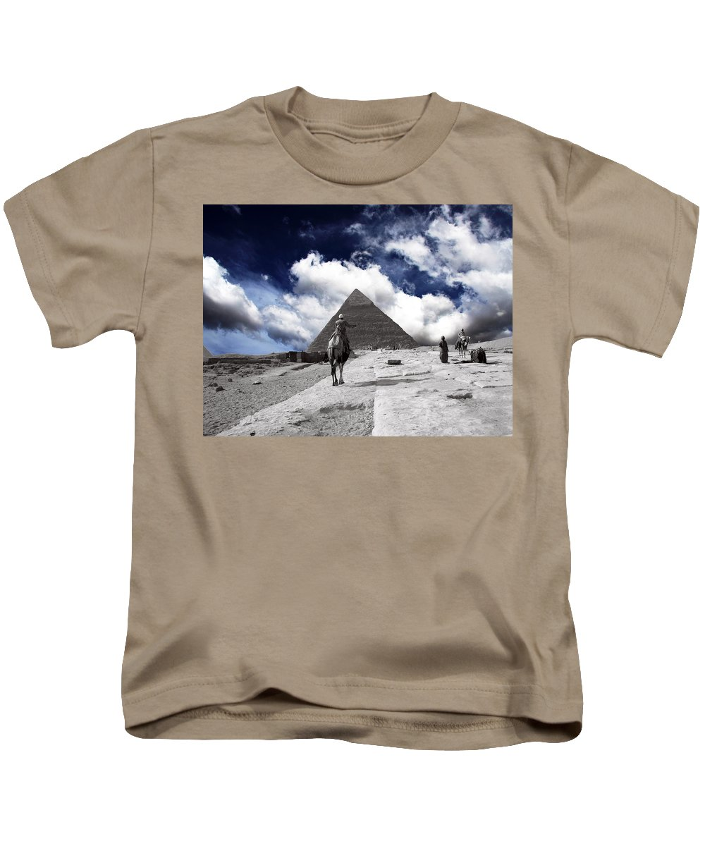 Egypt Kids T-Shirt featuring the photograph Egypt - Clouds Over Pyramid by Munir Alawi