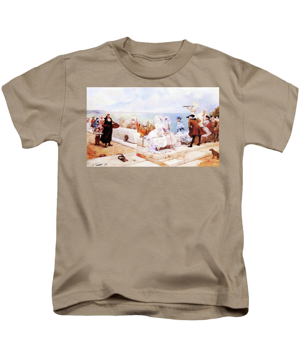 Landscape Kids T-Shirt featuring the painting Elegant Figures Watching The Regatta by Media Impasto Paper