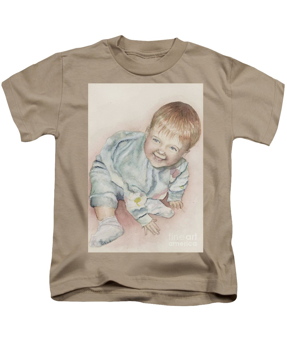 Girl Kids T-Shirt featuring the painting Elise by Nadine Rippelmeyer