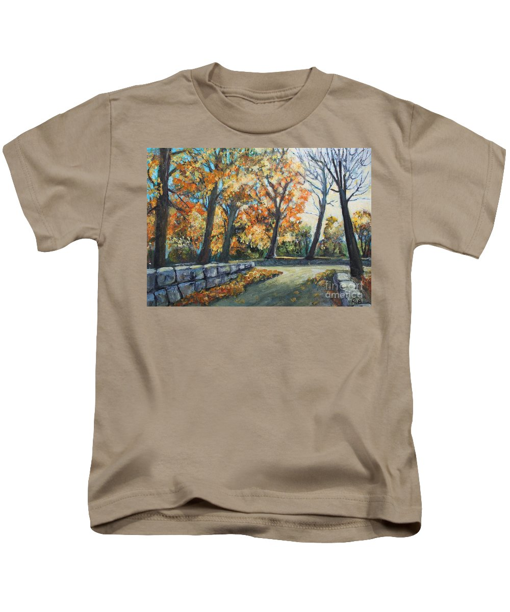 Landscape Kids T-Shirt featuring the painting Entrance To The Greenhouse by Rita Brown