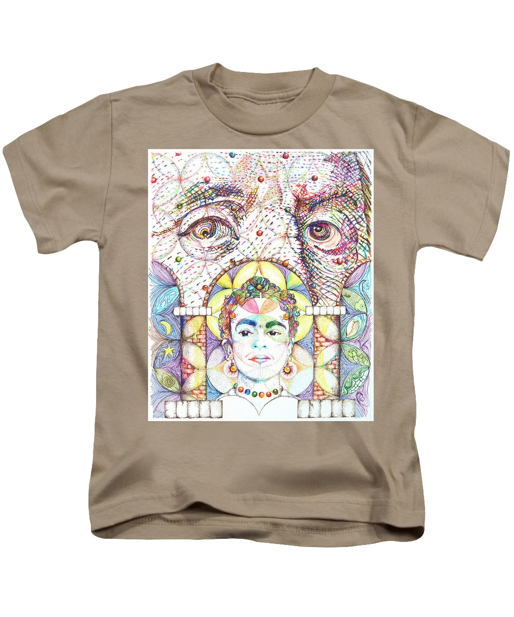 Ben Franklin Kids T-Shirt featuring the drawing Eternidad- Sombra De Arreguin by Doug Johnson
