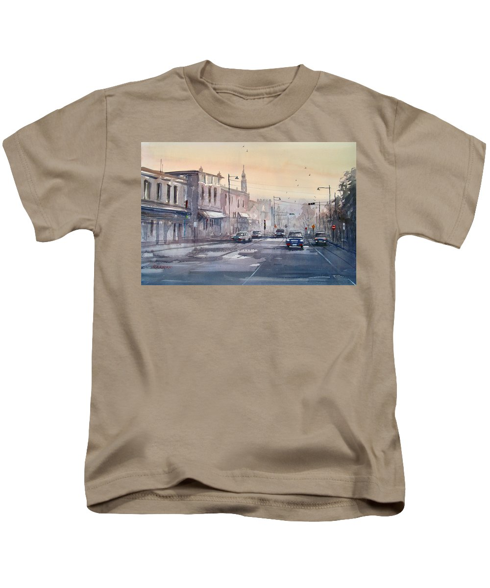 Watercolor Kids T-Shirt featuring the painting Evening Light In Appleton by Ryan Radke