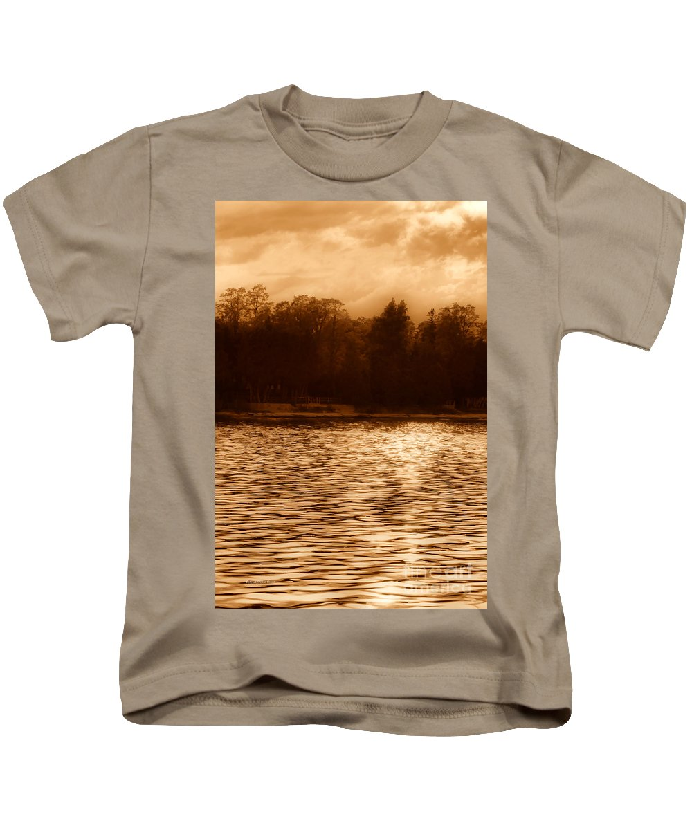 Lake Kids T-Shirt featuring the photograph Evening On The New York Shore by Deborah Benoit