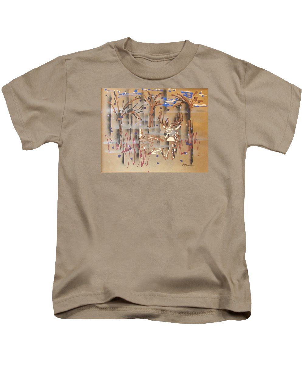 Buck In Tree Line Kids T-Shirt featuring the painting Everwatchful by J R Seymour