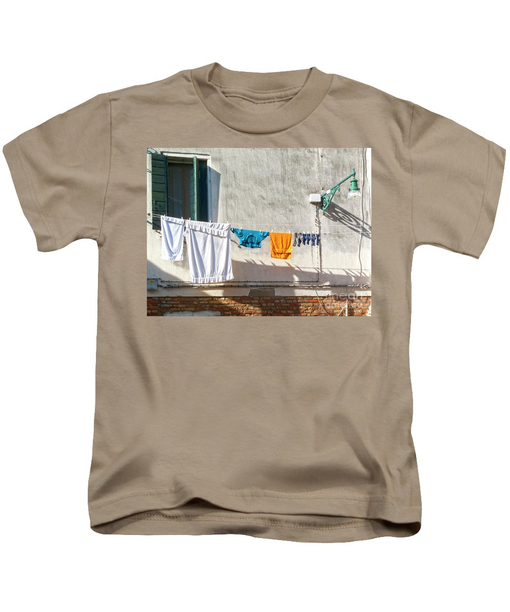 Heiko Kids T-Shirt featuring the photograph Everyday Life In Venice by Heiko Koehrer-Wagner