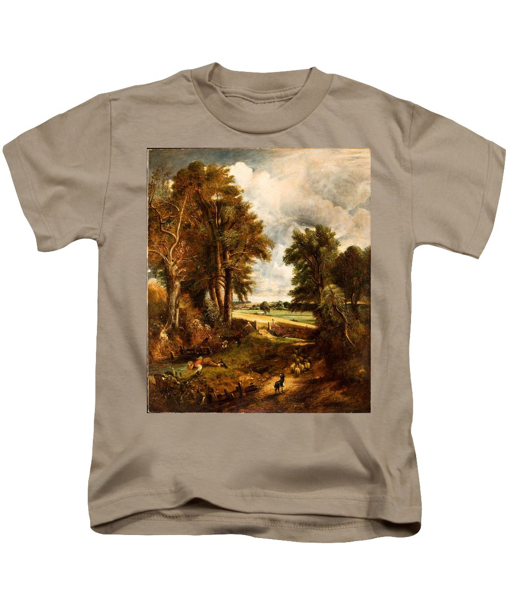 British School (19th Century) Extensive Landscape With Boy Drinking Water From A Stream Kids T-Shirt featuring the painting Extensive Landscape With Boy Drinking Water by MotionAge Designs