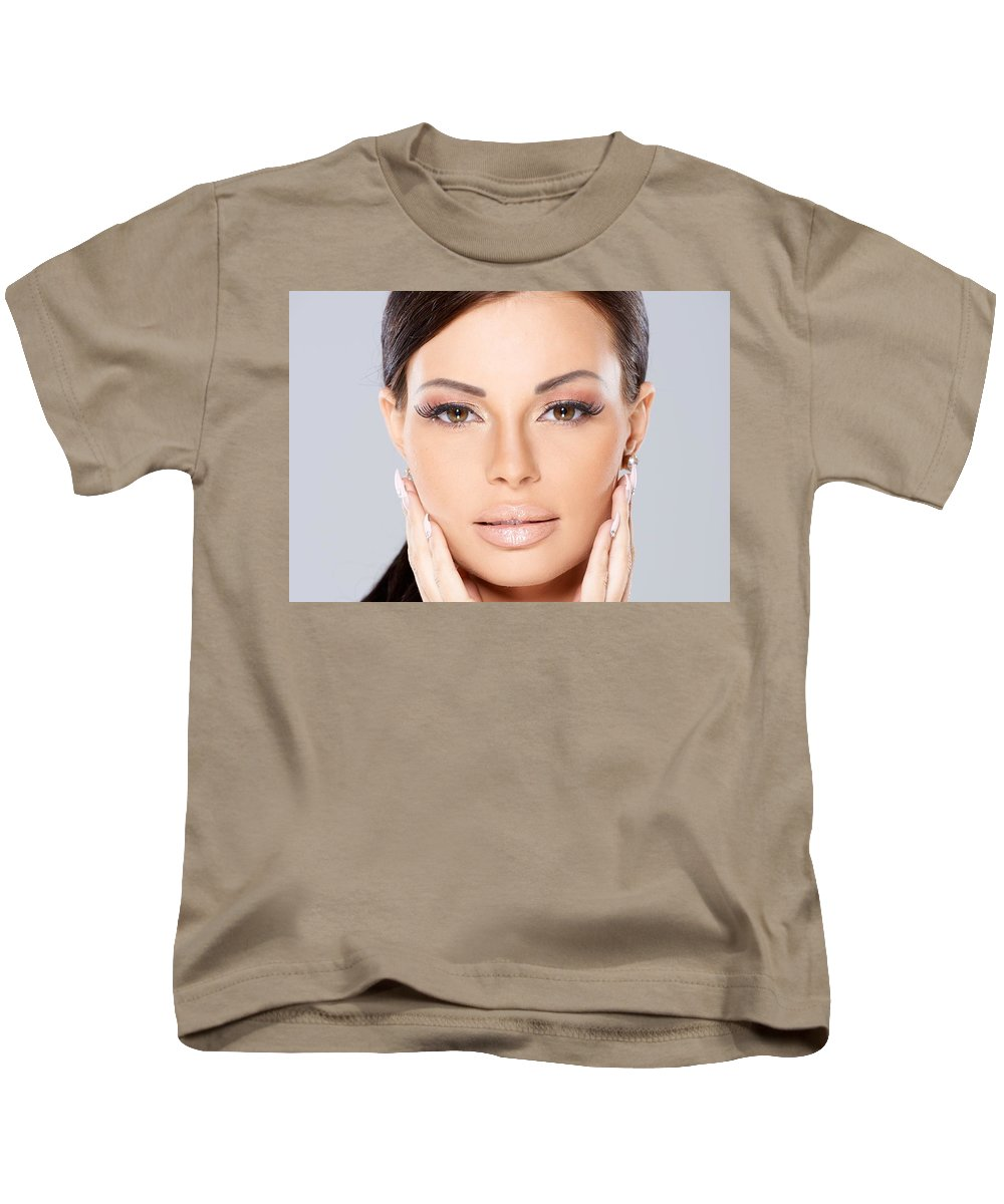 Face Kids T-Shirt featuring the digital art Face by Dorothy Binder