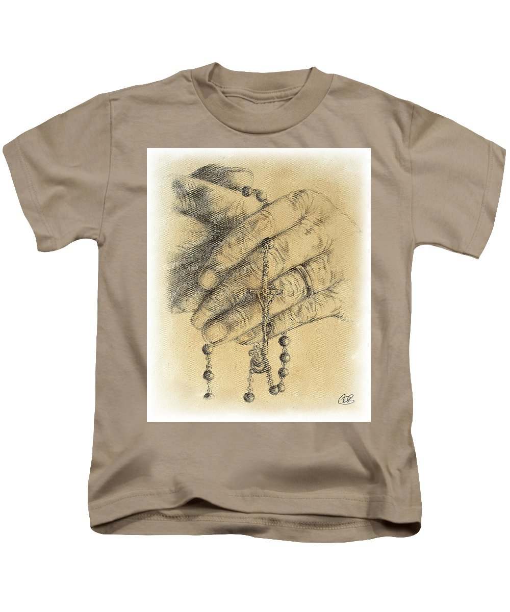Faith Never Grows Old Kids T-Shirt featuring the drawing Faith Never Grows Old by Conor O'Brien