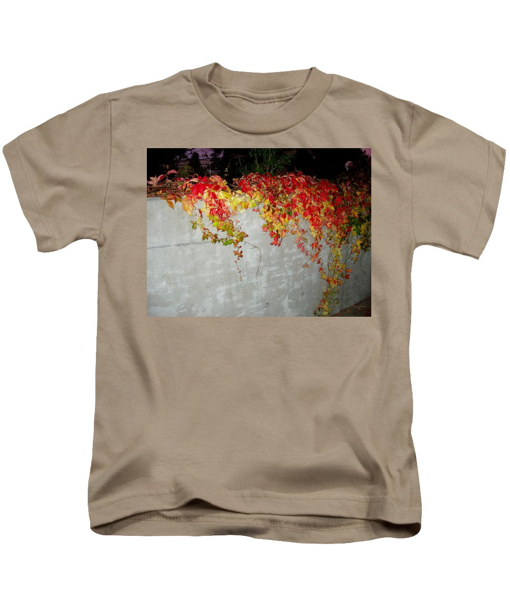 Fall Kids T-Shirt featuring the photograph Fall On The Wall by Deborah Crew-Johnson