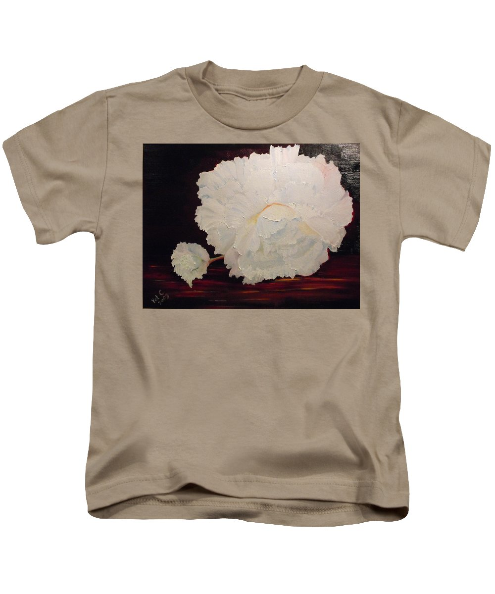 Begonia Kids T-Shirt featuring the painting Fallen Begonia by Valerie Curtiss