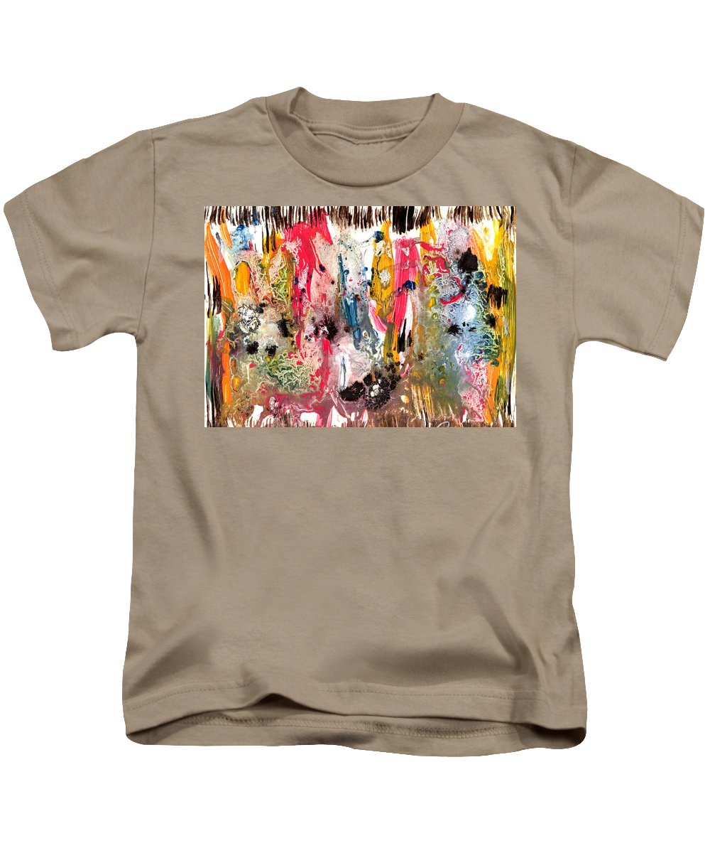 Acrylic Abstract Painting Kids T-Shirt featuring the painting Fantasy Iland Abstract by Dazo Anderson