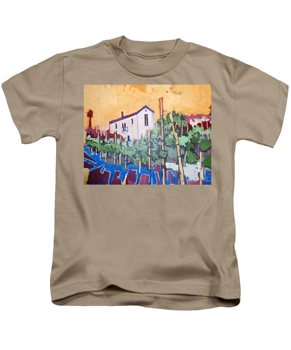 Farm House Kids T-Shirt featuring the painting Farm House by Kurt Hausmann
