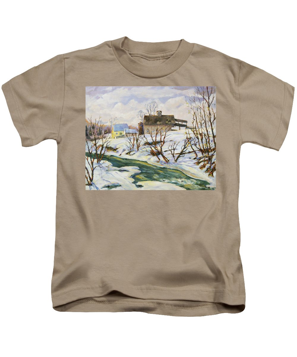 Farm Kids T-Shirt featuring the painting Farm In Winter by Richard T Pranke