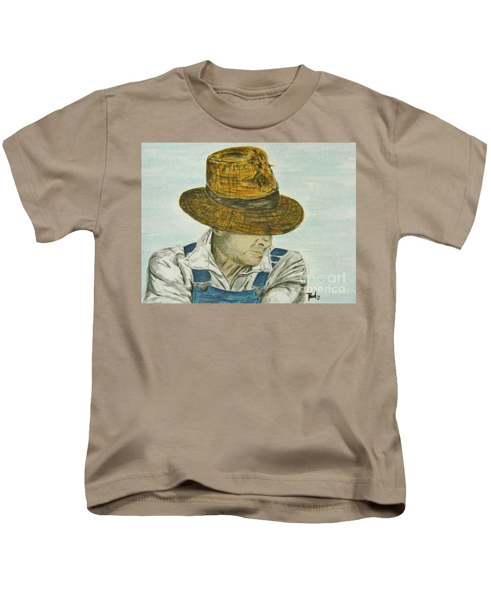 Portrait Kids T-Shirt featuring the painting Farmer Ted by Regan J Smith