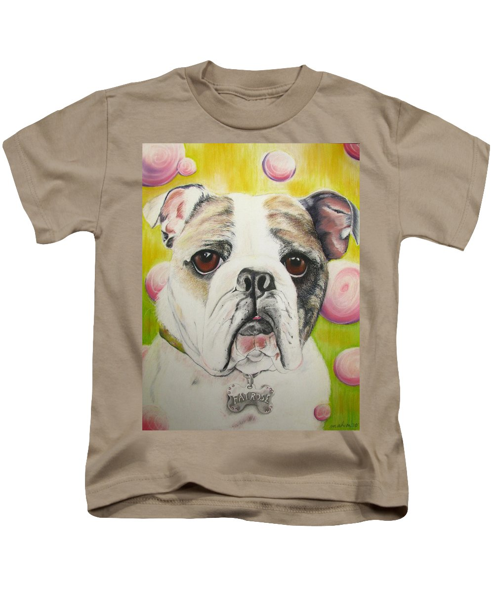 Dog Painting Kids T-Shirt featuring the pastel Fat Rose by Michelle Hayden-Marsan