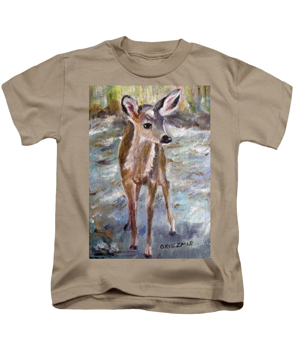 Fawn Kids T-Shirt featuring the painting Fawn by Olga Kaczmar