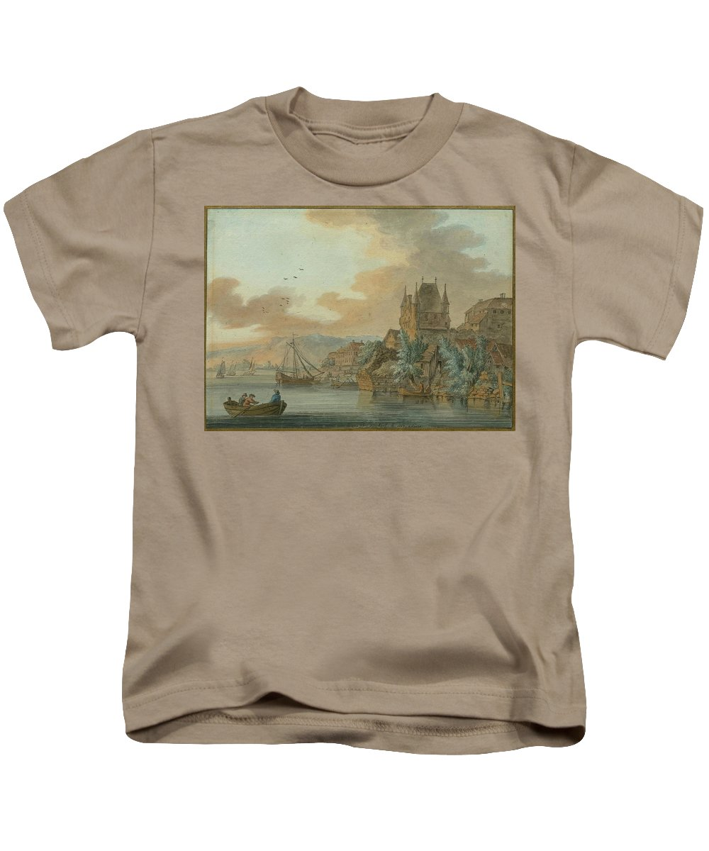 Hackert Kids T-Shirt featuring the painting Ferry Across A River by MotionAge Designs