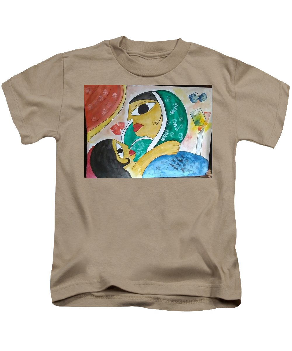 Kids T-Shirt featuring the drawing Fever by Pritam Modak