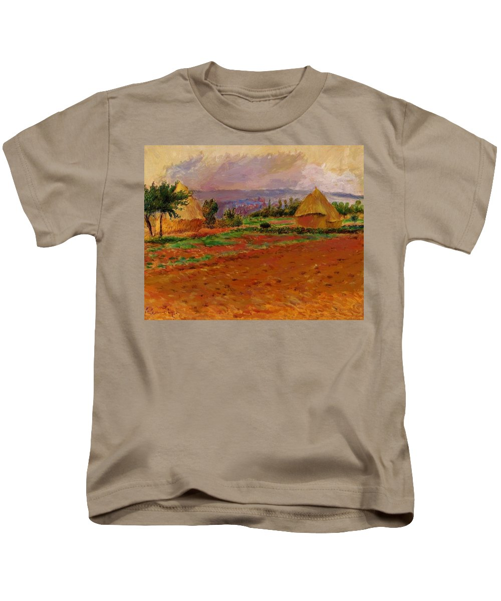 Field Kids T-Shirt featuring the painting Field And Haystacks 1885 by Renoir PierreAuguste