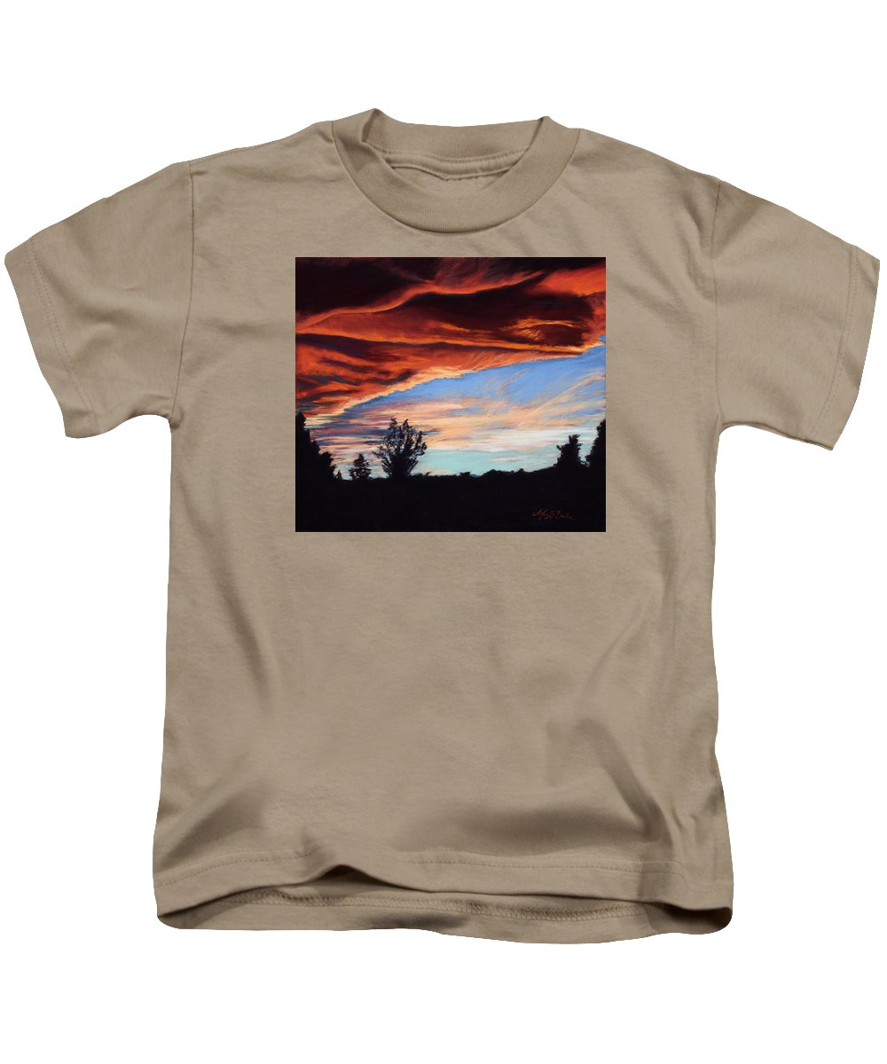 Sunset Kids T-Shirt featuring the painting Fire In The Sky by Mary Benke