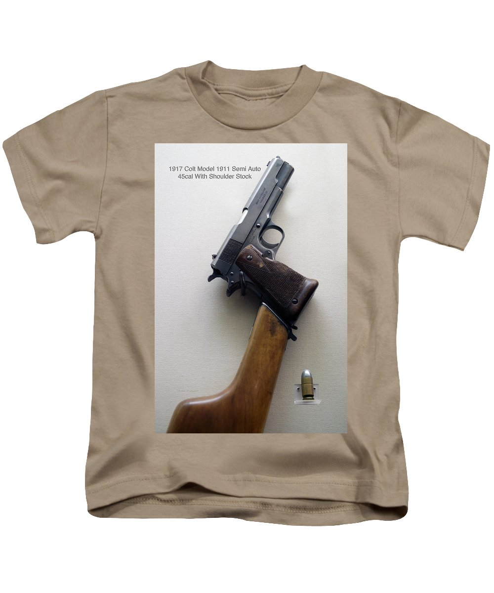 Vertical Kids T-Shirt featuring the photograph Firearms 1917 Colt Model 1911 Semi Auto 45cal With Shoulder Stock by Thomas Woolworth