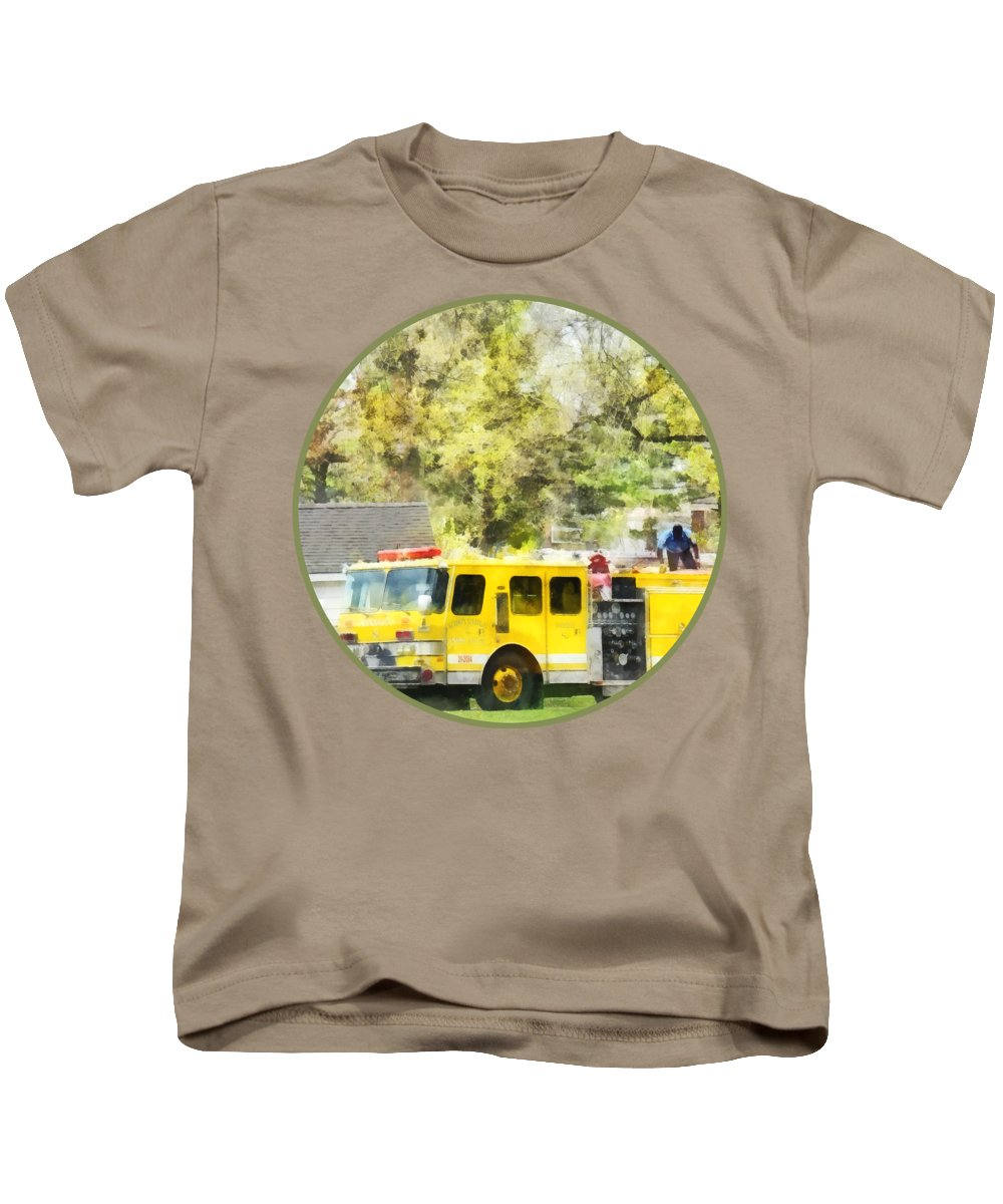 Firehouse Kids T-Shirt featuring the photograph Firemen - Back At The Firehouse by Susan Savad