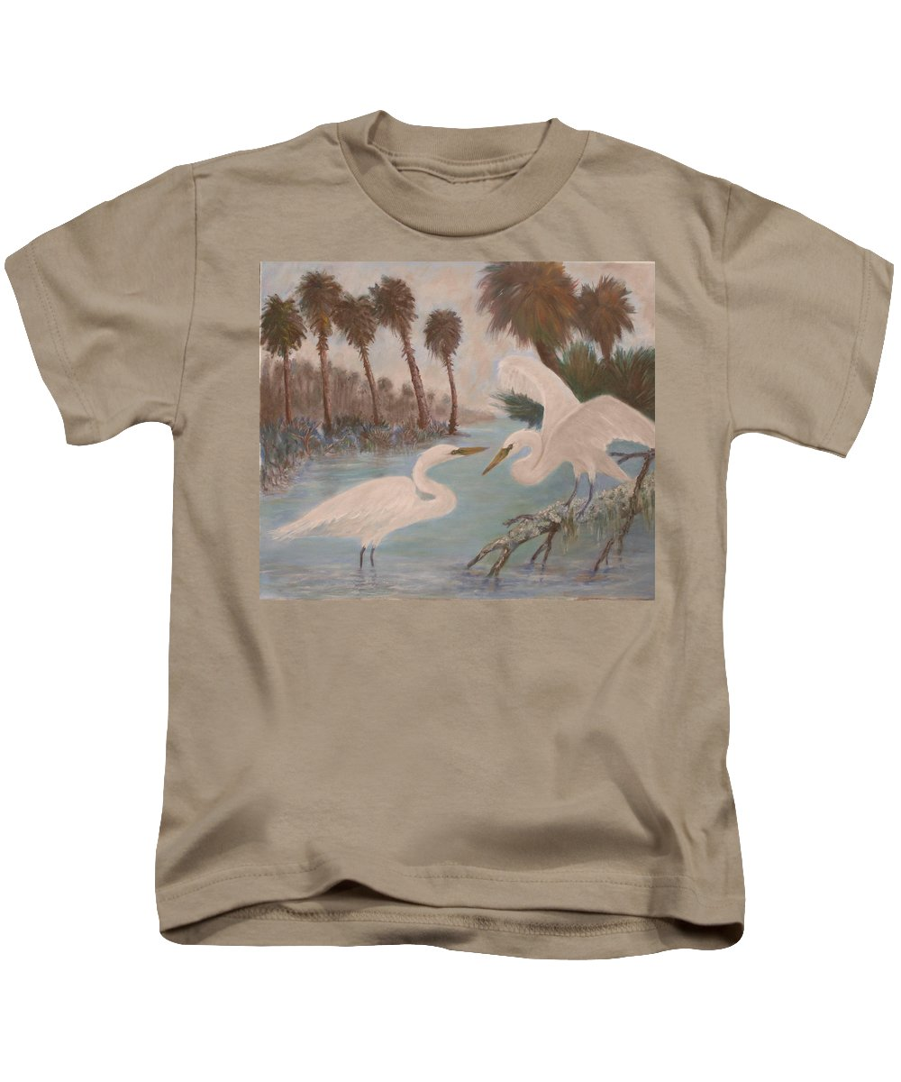 Egret Kids T-Shirt featuring the painting First Meeting by Ben Kiger