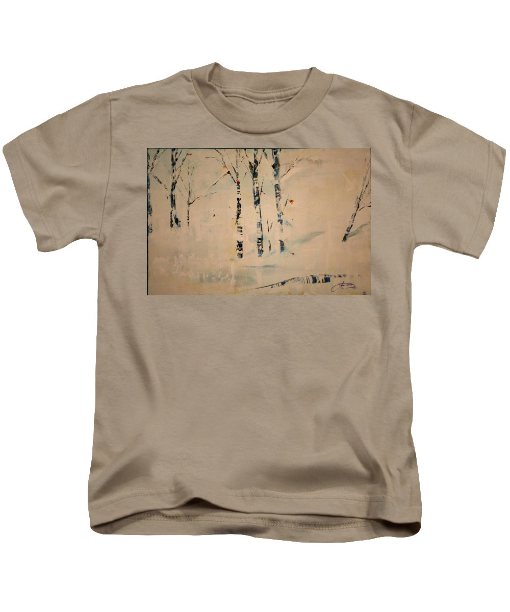 Birch Kids T-Shirt featuring the painting First Snow Central Park by Jack Diamond