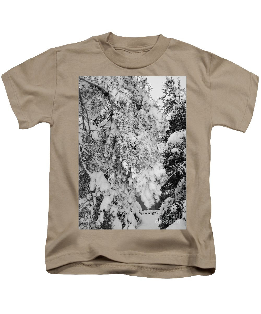 Snow Kids T-Shirt featuring the photograph First Snowfall by Kathleen Struckle
