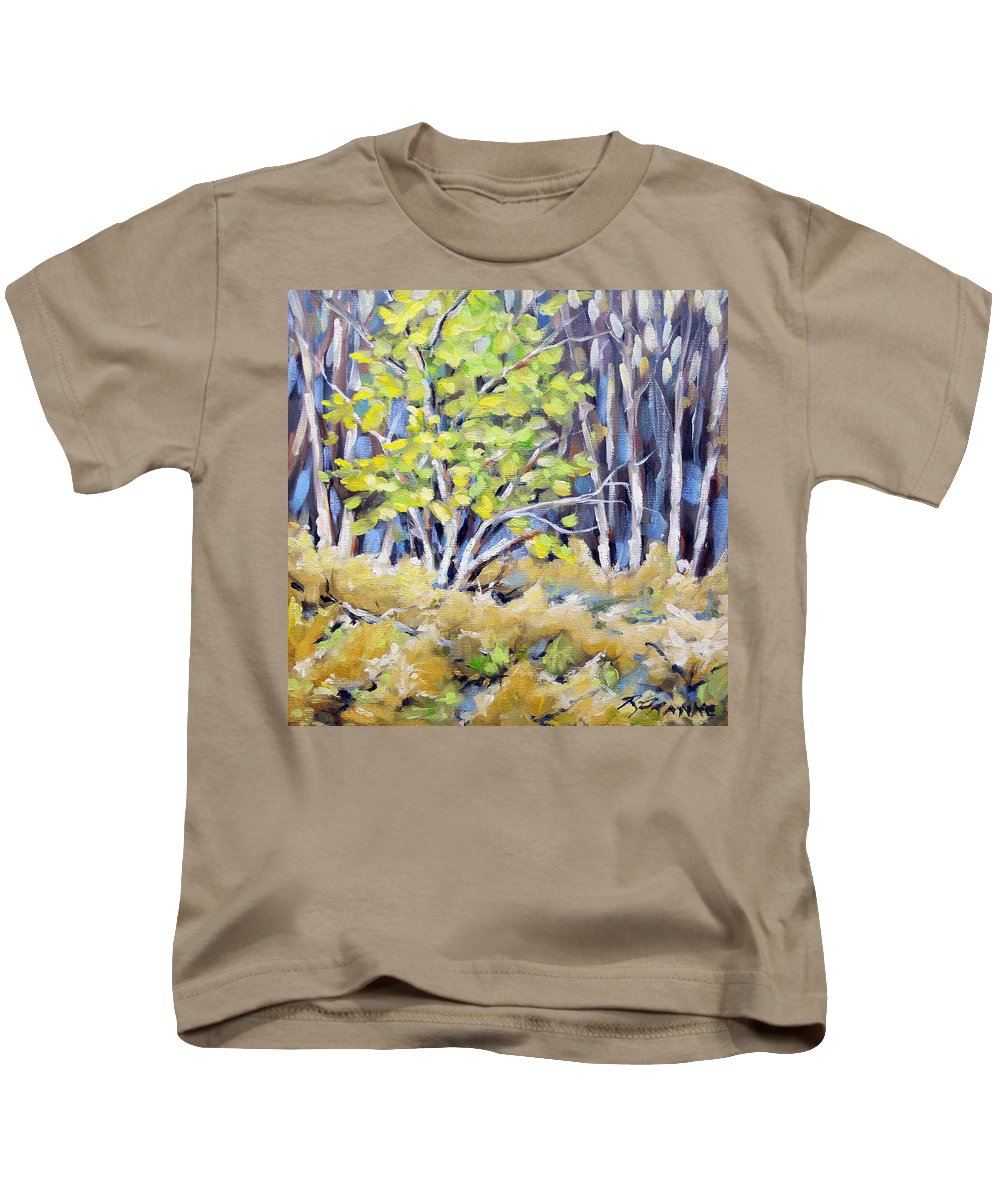 Art Kids T-Shirt featuring the painting First Touch Of Spring by Richard T Pranke