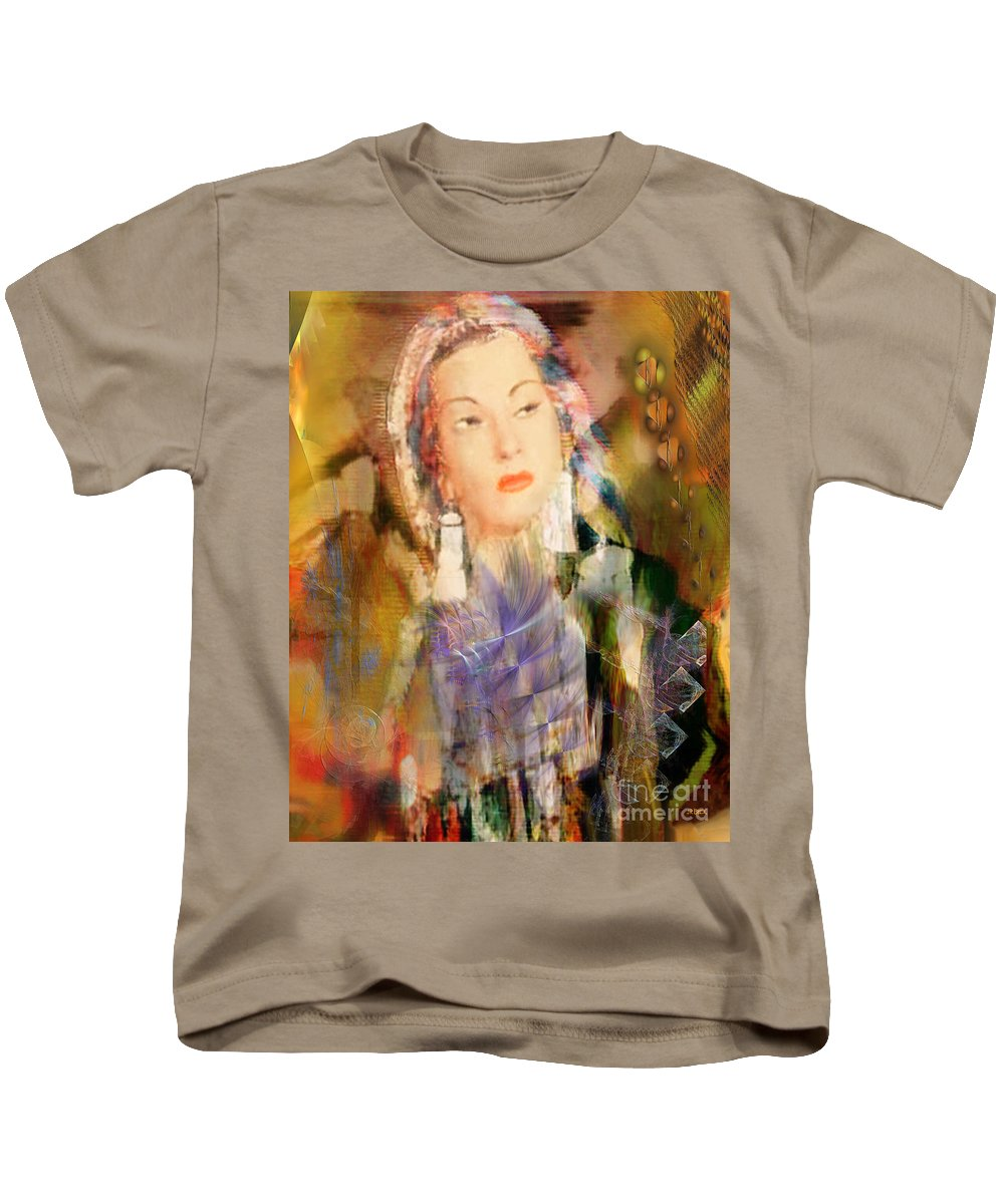 Kids T-Shirt featuring the digital art Five Octaves - Tribute To Yma Sumac by John Beck