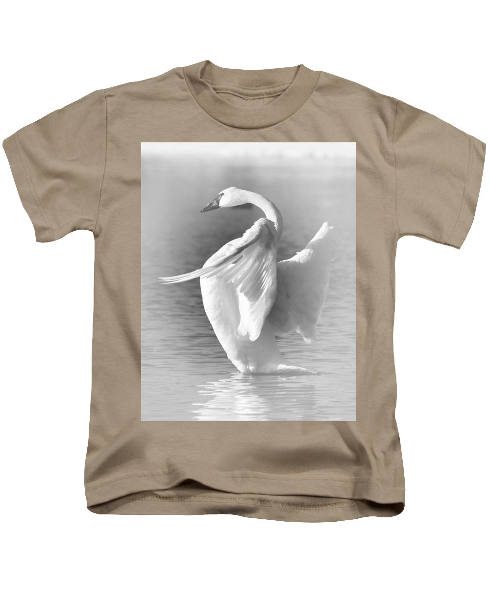 Trumpeter Swan Kids T-Shirt featuring the photograph Flapping In Black And White by Larry Ricker