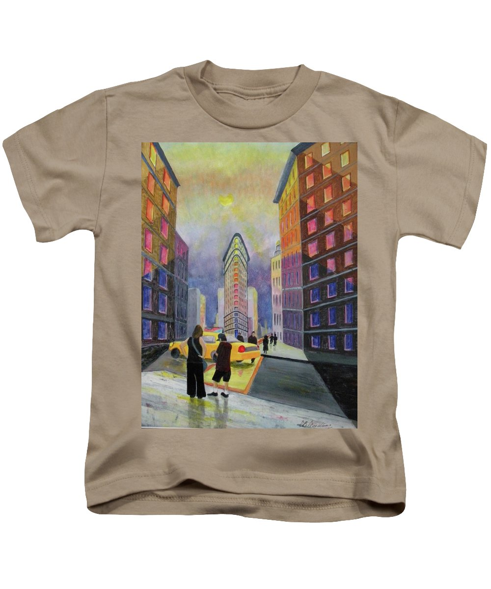 New York City Kids T-Shirt featuring the painting Flat Iron Building New York by CB Woodling