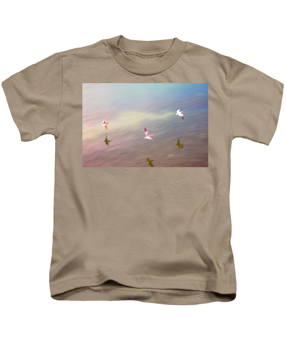 Pelicans Kids T-Shirt featuring the photograph Flight Impressions by Mal Bray