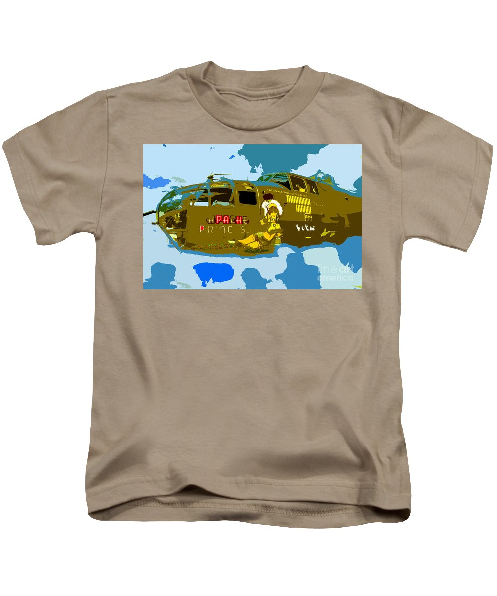 Bomber Kids T-Shirt featuring the painting Flight Of The Apache Princess by David Lee Thompson
