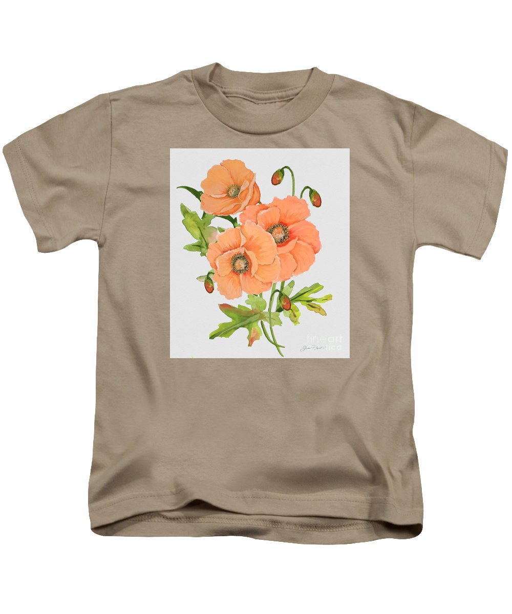 Watercolor Painting Kids T-Shirt featuring the painting Floral Botanicals-jp3782 by Jean Plout