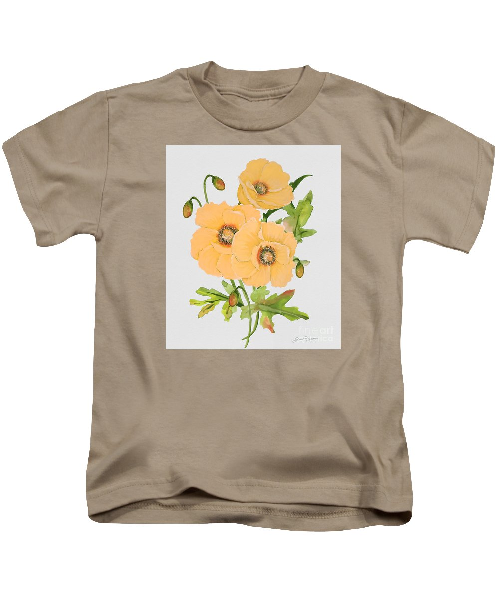 Watercolor Painting Kids T-Shirt featuring the painting Floral Botanicals-jp3785 by Jean Plout