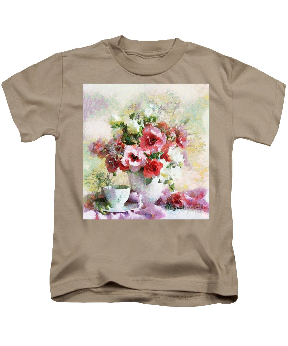Floral Bouquet Table Setting In Tiny Bubbles Kids T-Shirt featuring the painting Floral Bouquet Table Setting In Tiny Bubbles by Catherine Lott