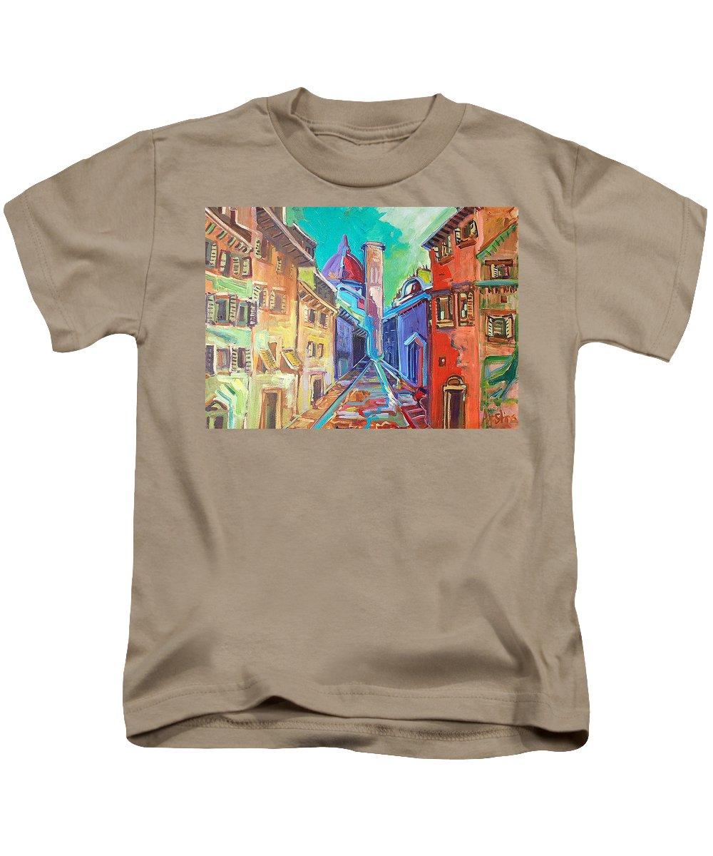 City Kids T-Shirt featuring the painting Florence by Kurt Hausmann