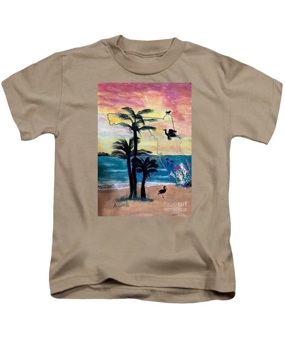 Florida Map Heron Sunset Palm Tree Seascape Kids T-Shirt featuring the painting Florida Images by Anne Sands