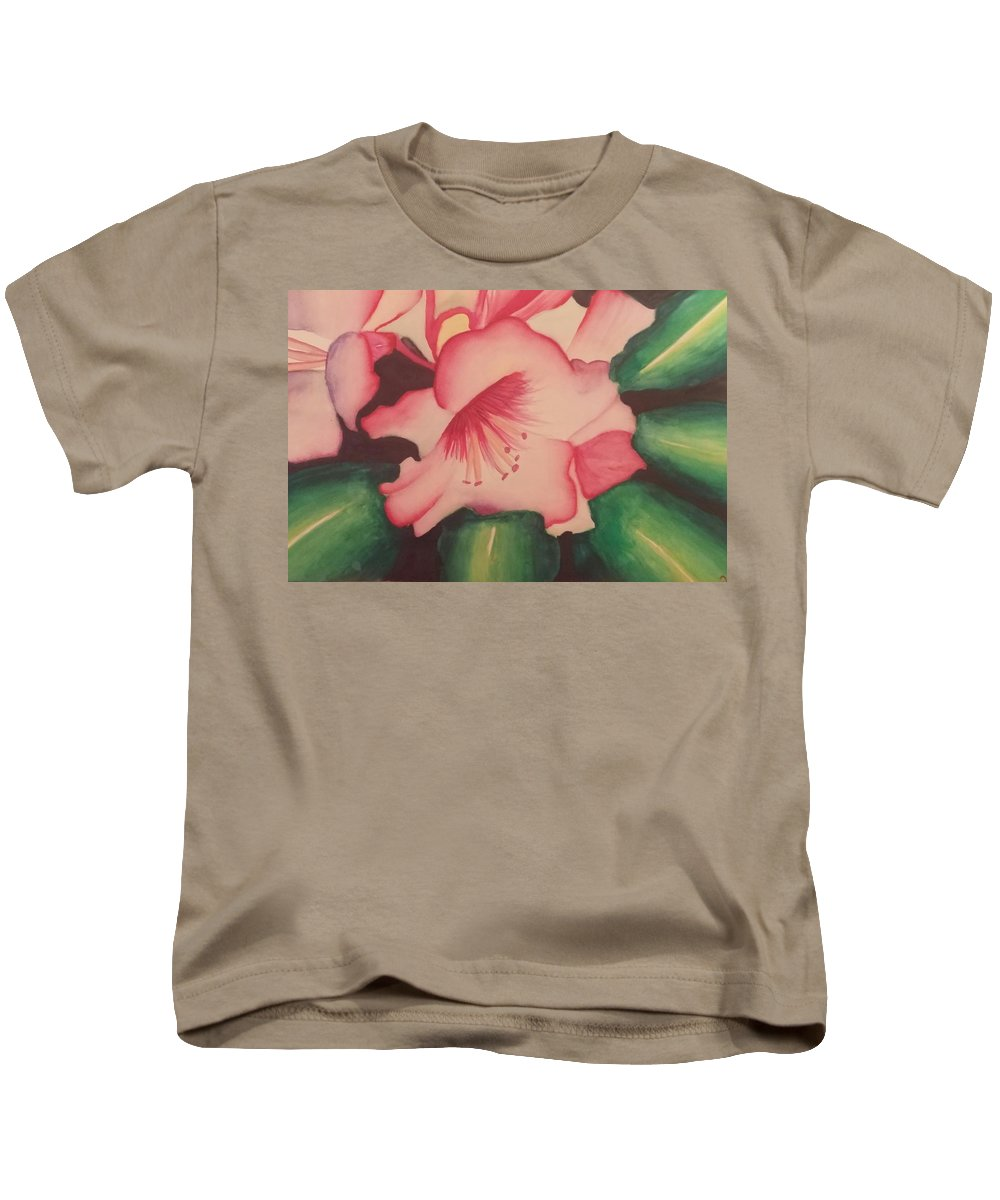Pink Flowers Kids T-Shirt featuring the painting Flowers by Alexius Brown