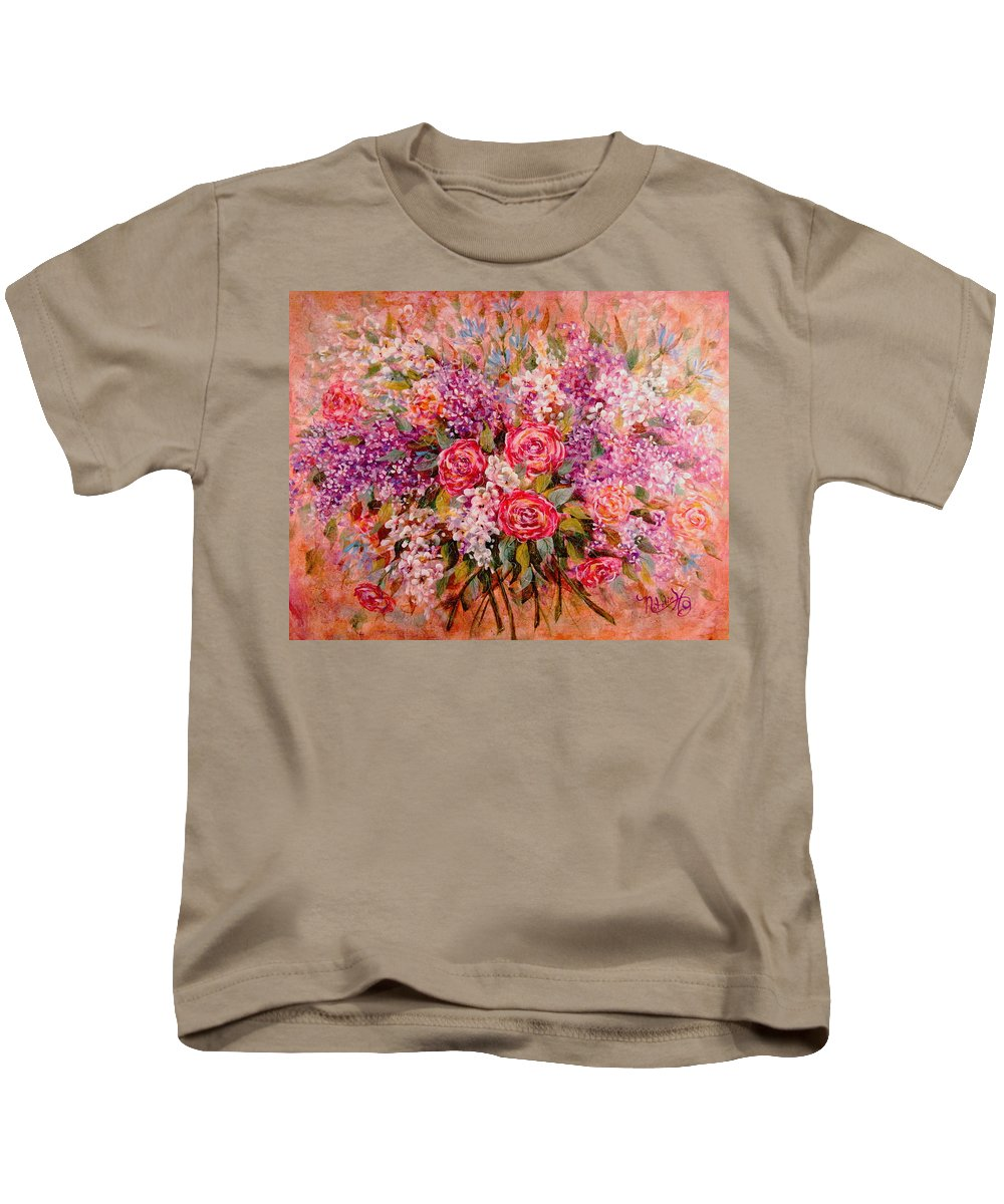 Romantic Flowers Kids T-Shirt featuring the painting Flowers Of Romance by Natalie Holland