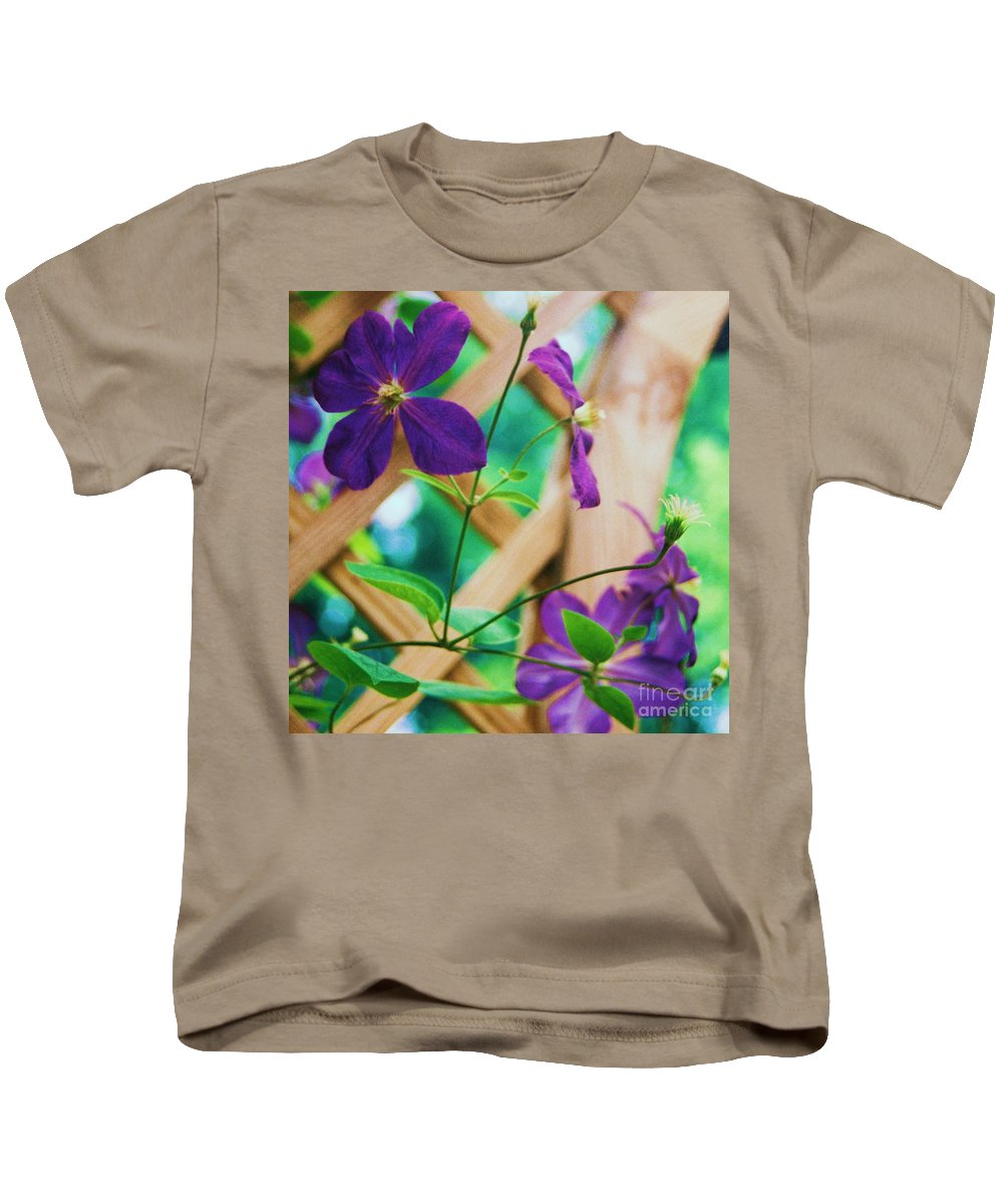 Floral Kids T-Shirt featuring the painting Flowers Purple by Eric Schiabor