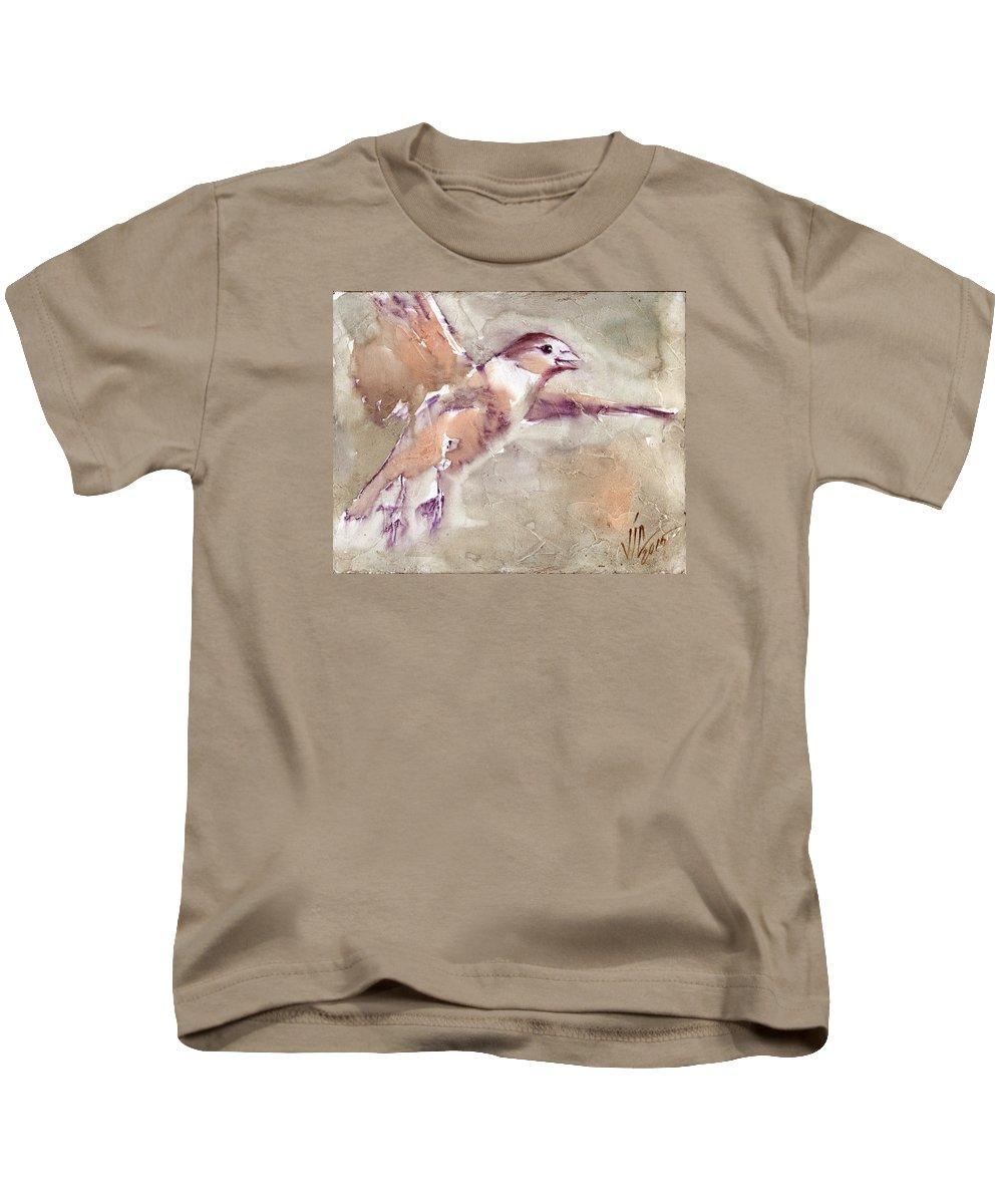 No People Kids T-Shirt featuring the painting Flying by Vali Irina Ciobanu