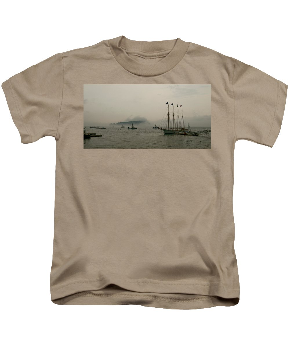 porcupine Islands Kids T-Shirt featuring the photograph Fog Over The Porcupines by Paul Mangold